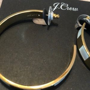 J. Crew Jewelry - JCrew white and gold open hoops